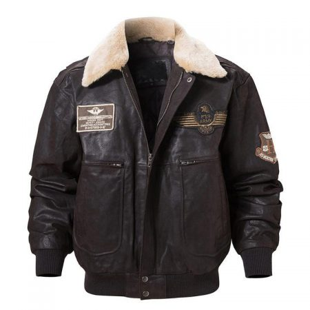 Pierson Dark Brown Leather Shearling Collar Bomber Jacket