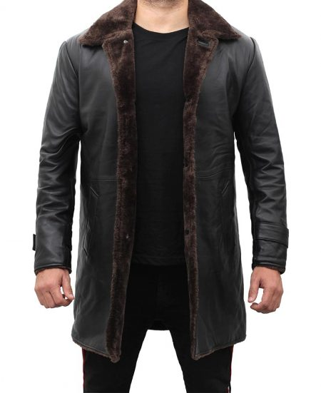 Chandler Mens Shearling Lined 3 4 Length Leather Coat Black