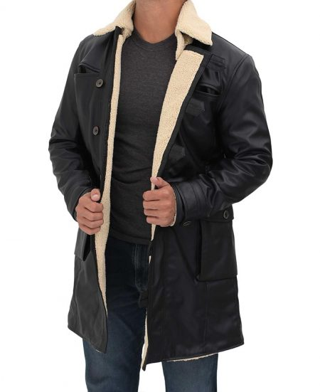 Black 3/4 Length Shearling Leather Coat Mens
