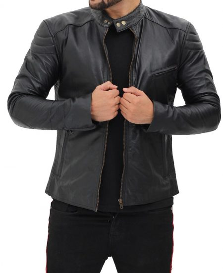 Monza Mens Black Snap Collar Leather Racer Jacket