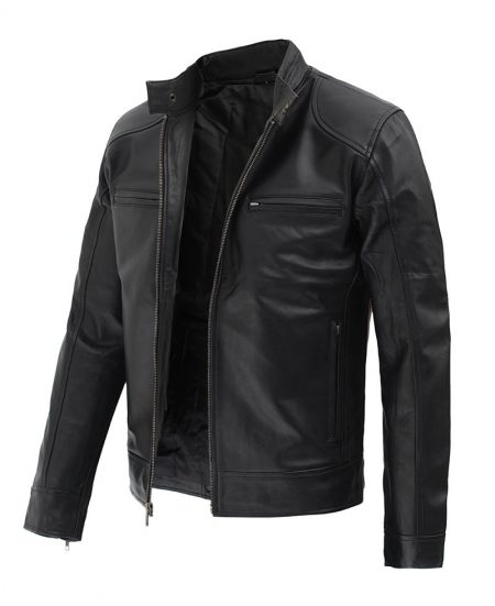 Dodge Black Mens Leather Racer Jacket