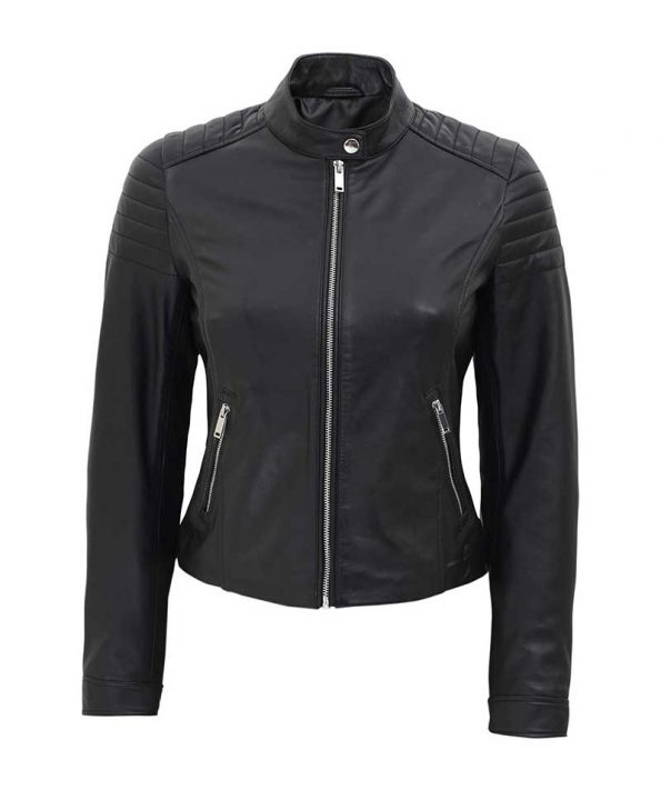 Carrie Womens Slim Fit Leather Jacket Black
