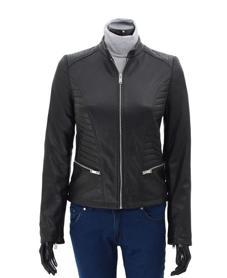 Rachel Womens Black Slim Fit Leather Jacket