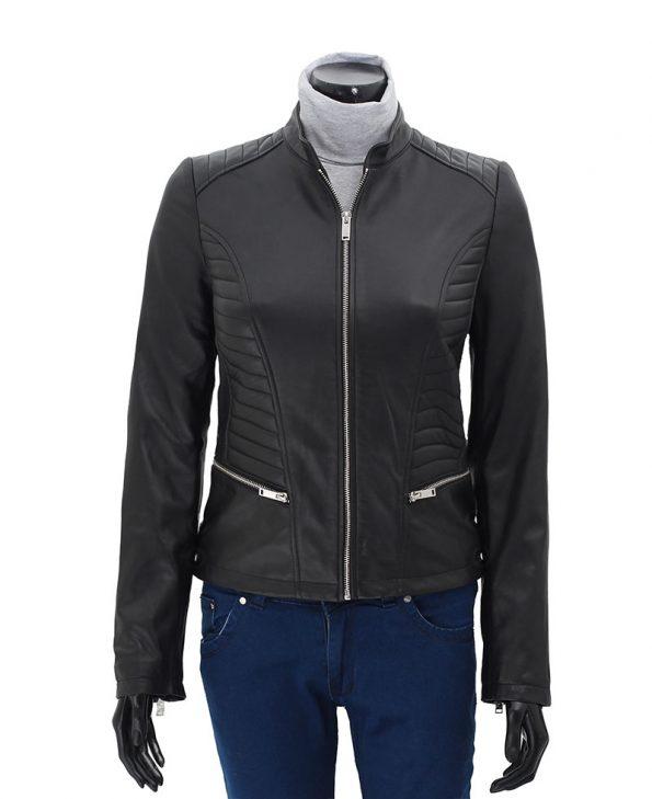 Rachel Womens Black Slim Fit Leather Jacket
