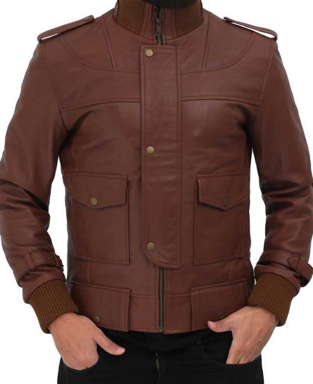 Mens Light Brown Leather Slim Fit Jacket