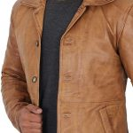 Mens Distressed Camel 3/4 Length Leather Coat