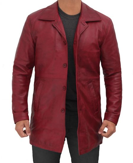 Natural Mens Maroon Distressed 3 4 Length Leather Coat