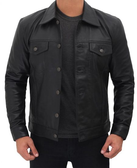 Mens Real Leather Black Trucker Jacket