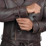 Rorschach Brown Distressed Men Long Trench Belted Style Leather Coat