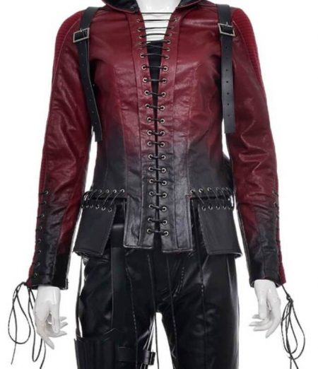 Womens Arsenal Red Arrow Hooded Leather Jacket