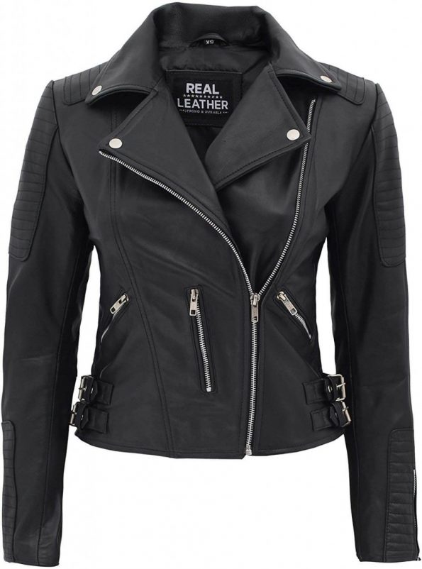 Bari Womens Biker Asymmetrical Black Leather Jacket