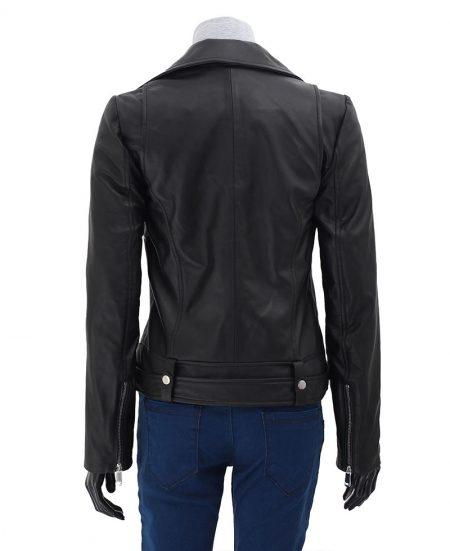 Womens Black Asymmetrical Cropped Moto Leather Jacket