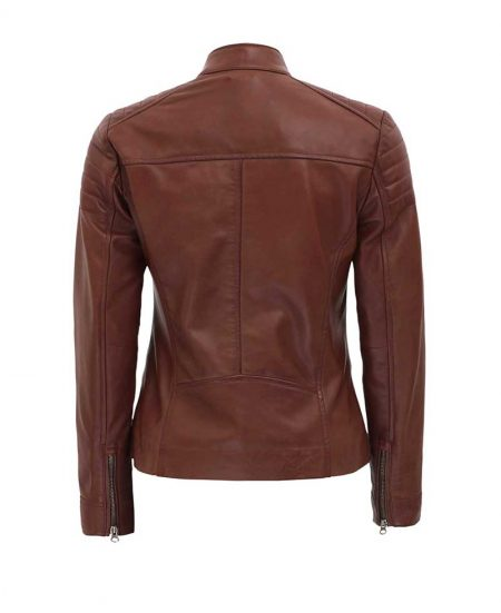 Carrie Brown Padded Slim Fit Leather Jacket Women