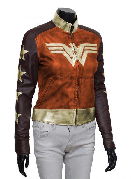 Wonder Woman Waxed Leather Jacket