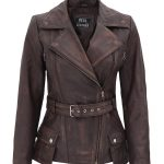 Distressed Brown Asymmetrical Leather Jacket Womens