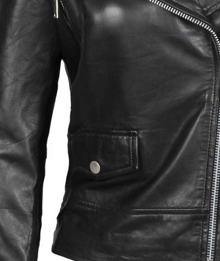 Amber Asymmetrical Moto Black Leather Jacket