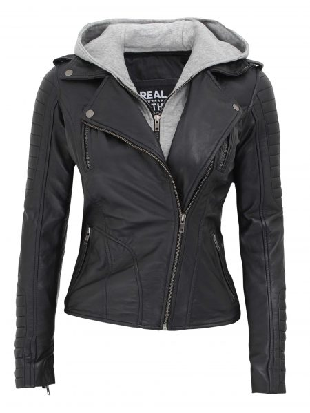 Bagheria Biker Black Hooded Leather Jacket for Women