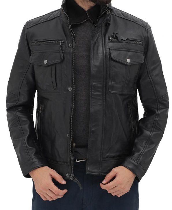 Moffit Mens Black Leather Motorcycle Jacket