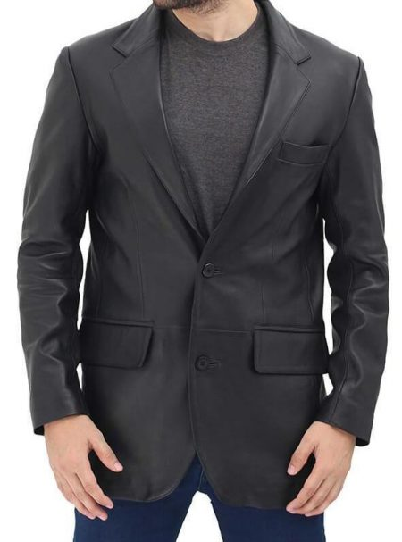 Samuel 2 Buttons Leather Mens Black Blazer Jacket