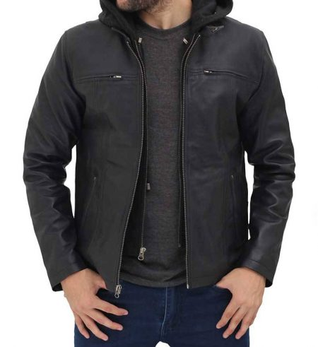 Jonathan Black Leather Jacket with Hood Mens