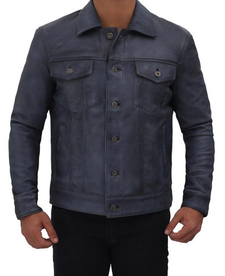 Grayish Blue Leather Trucker Jacket Mens