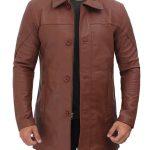 Bristol Brown Real Leather Car Coat Mens