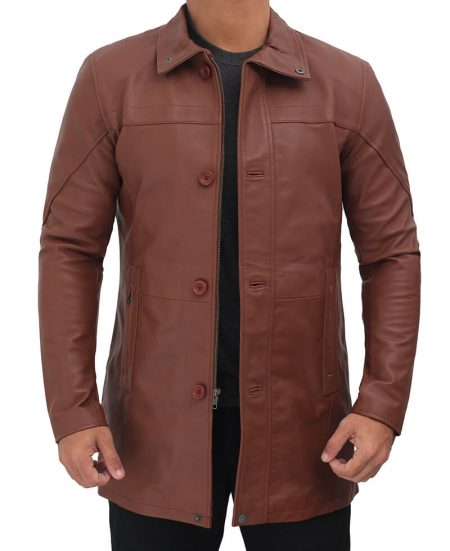 Bristol Brown Real Leather Car Coat Mens