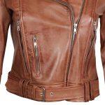 Elisa Brown Asymmetrical Moto Short Leather Jacket Womens
