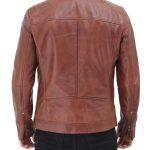 Benjamin Mens Brown Leather Cafe Racer Jacket