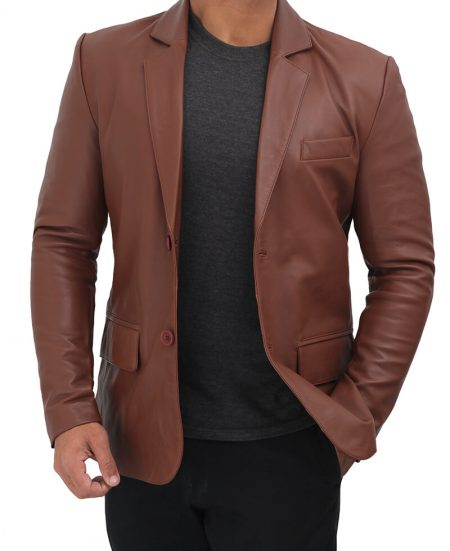 Glendale 2 Buttons Mens Brown Leather Blazer