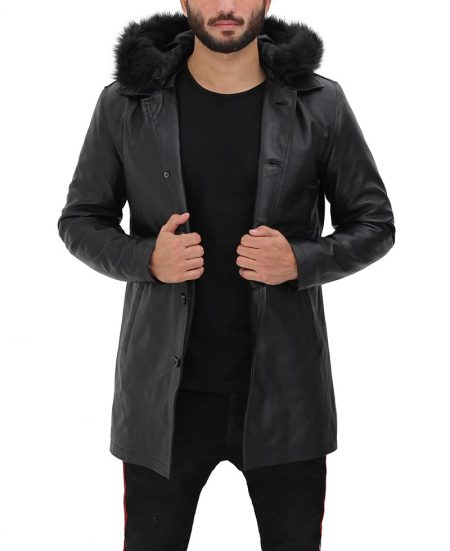 Clarence Black Hooded Leather Coat With Fur Trim