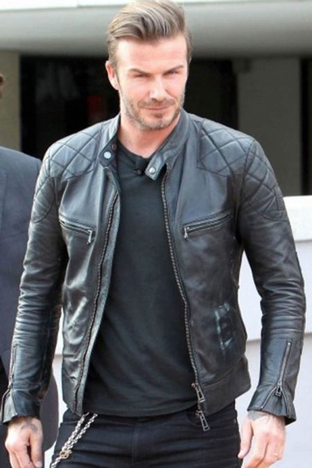 Black Leather David Beckham Jacket