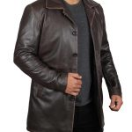 Winchester Distressed Brown Leather Mens Rust Coat