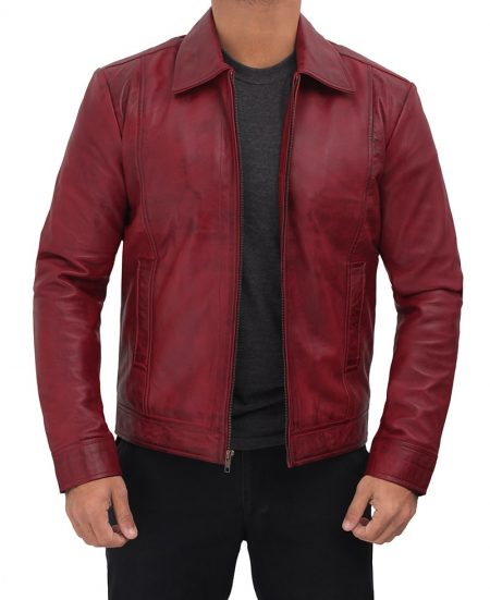 Shirt Collar Distressed Maroon Leather Jacket