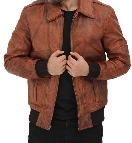 Howard Tan Leather Distressed Bomber Jacket