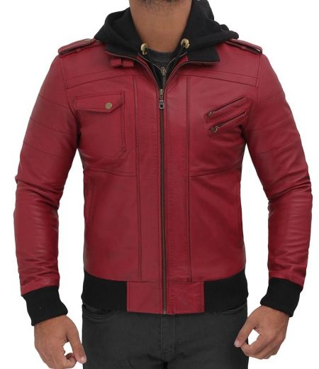 Edinburgh Maroon Hooded Leather Bomber Jacket Mens
