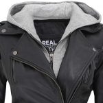 Bagheria Black Womens Leather Jacket with Hood