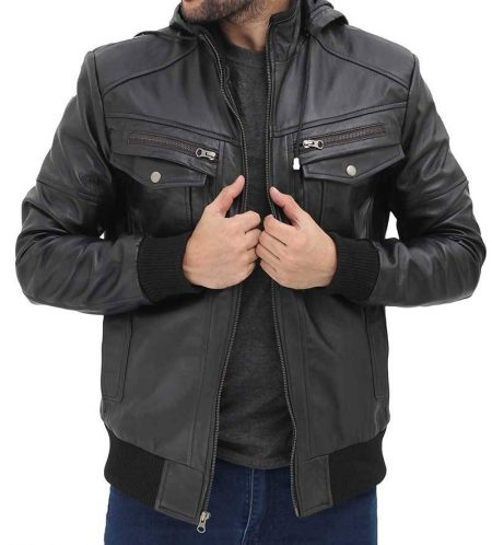 Frank Black Leather Hooded Bomber Jacket Mens