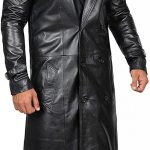 Mens Top Grain Long Black Leather Coat