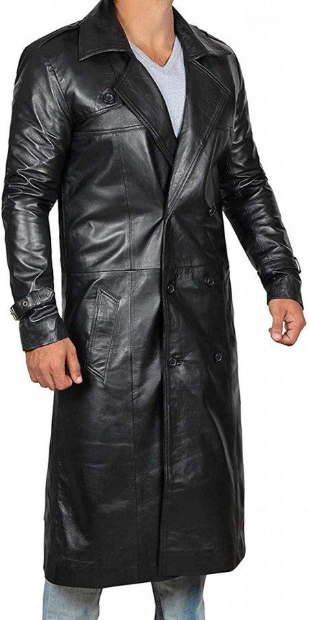 Mens Top Grain Long Black Leather Coat