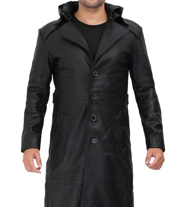 Gravel Real Leather Black Trench Coat with Hood Mens
