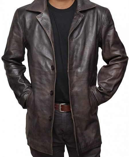 Mens Distressed Brown Leather Coat