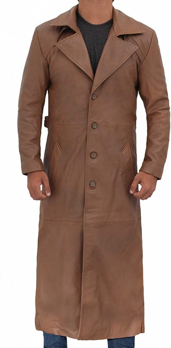 Jackson Mens Leather Long Brown Trench Coat