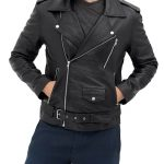 Belted Black Mens Motorcycle Racing Aviator Style Rider Leather Jacket
