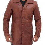Natural Mens Distressed Leather Tan Coat