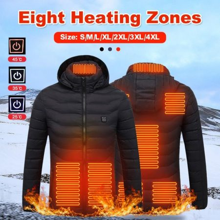 Unisex USB Electric Thermal Heated Jackets with Hood