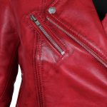 Margaret Red Leather Asymmetrical Biker Jacket for Women