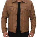Mens Tan Trucker Leather Jacket