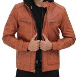 Edward Mens Tan Leather Jacket with Hood