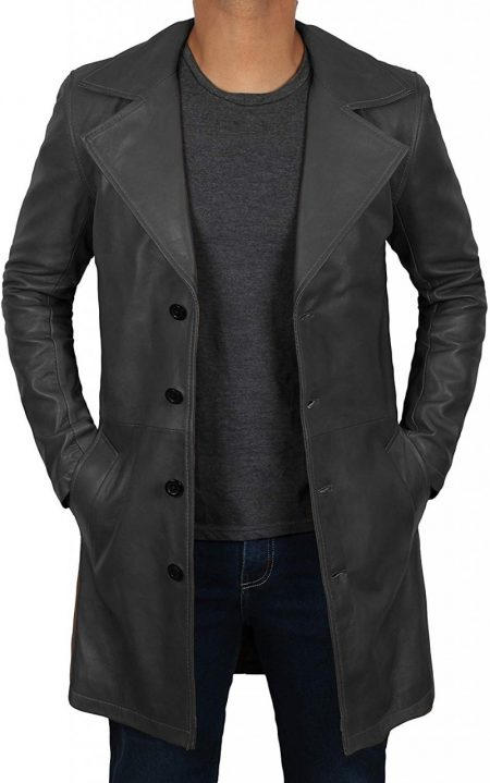 Mens 3/4 Length Black Wide Collar Winter Leather Coat